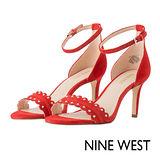 NINE WEST--高跟腳踝繫帶涼鞋--搶眼紅