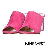 NINE WEST--魚口皮革粗跟涼鞋--好感粉