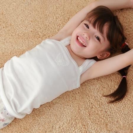【Anny pepe】精梳美國棉女童方領背心內衣-白