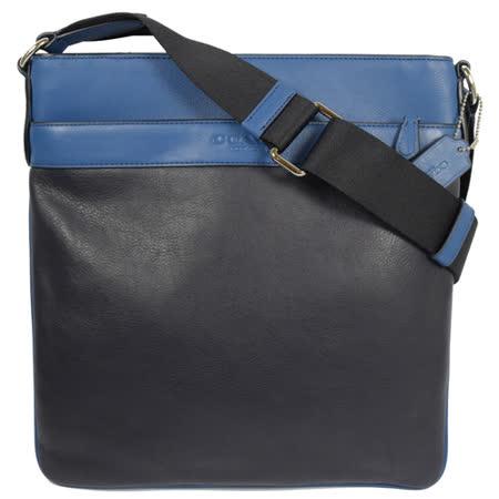 COACH 經典LOGO烙印撞色皮革中性斜背包.黑/藍