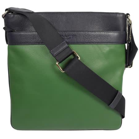 COACH 經典LOGO烙印撞色皮革中性斜背包.綠/黑