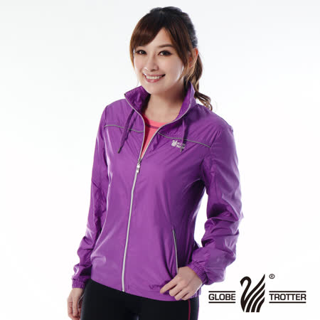 【遊遍天下】女款抗UV防風防潑水反光條輕量連帽外套G0320中紫