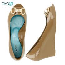 【OkaB】MYRA立體馬蹄形裝飾楔型高跟鞋 駝色(k2048MY-BR)
