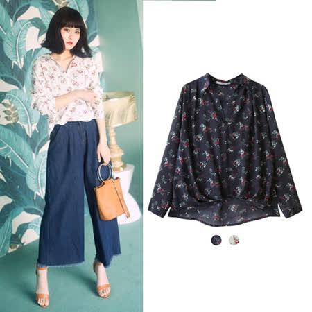 日本ANNA LUNA 預購-ViVi雜誌 下擺折縫花朵襯衫(共兩色/M)