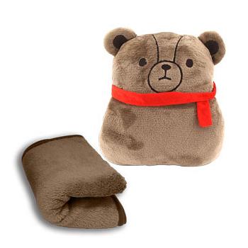 英國熊三用抱枕毯