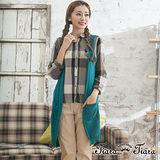 【Tiara Tiara】特賣專屬 森林女孩長版無袖針織外搭罩衫(藍綠)