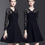 【麗質達人中大碼】5265蕾絲拼接假二件式洋裝(XL-5XL)