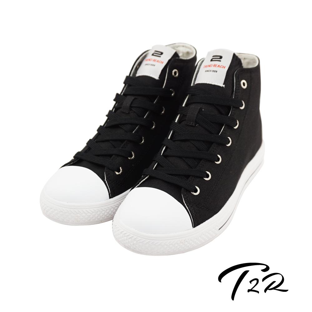 【韓國T2R】時尚高質感隱形增高氣墊-高筒帆布鞋 ↑7cm 酷炫黑(5600-0261)