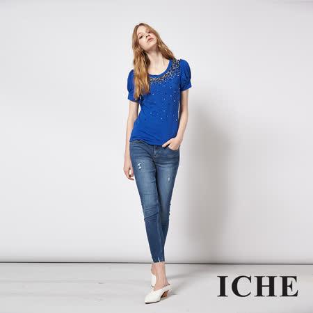 ICHE 衣哲 立體精緻釘鑽百搭短袖造型藍上衣