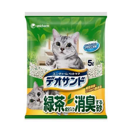 日本Unicharm 消臭大師尿尿後消臭貓砂-綠茶香 (5L x 4包)