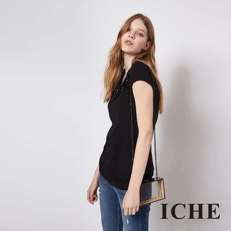 ICHE 衣哲 簡約花朵鑽飾短袖造型黑上衣