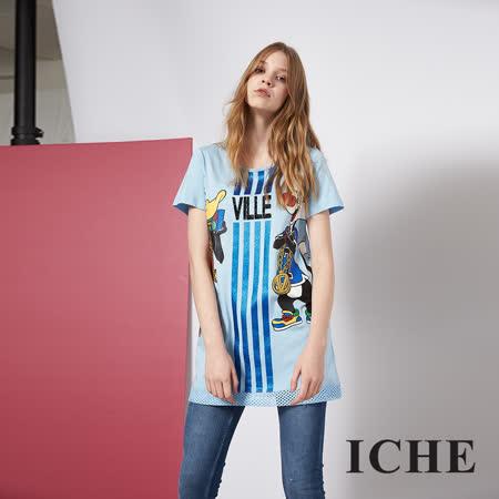 ICHE 衣哲 個性時尚卡通印花長版造型T恤上衣 兩色