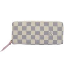 Louis Vuitton LV N61264 Clemence 白棋盤格紋拉鍊長夾_現貨