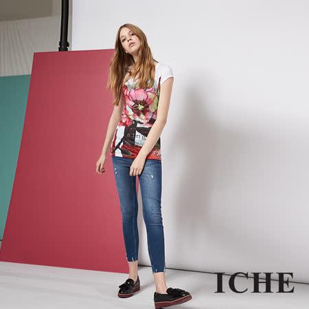 ICHE 衣哲 優雅花卉印花百搭短袖造型上衣