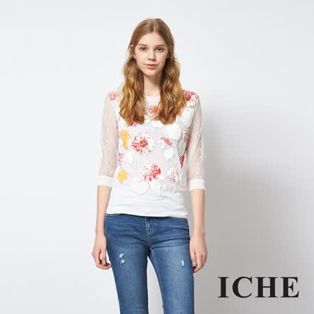 ICHE 衣哲 蕾絲印花透視拼接七分袖造型上衣