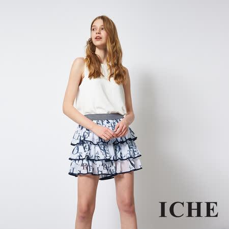 ICHE 衣哲 字母印花拼接蛋糕疊層造型短裙