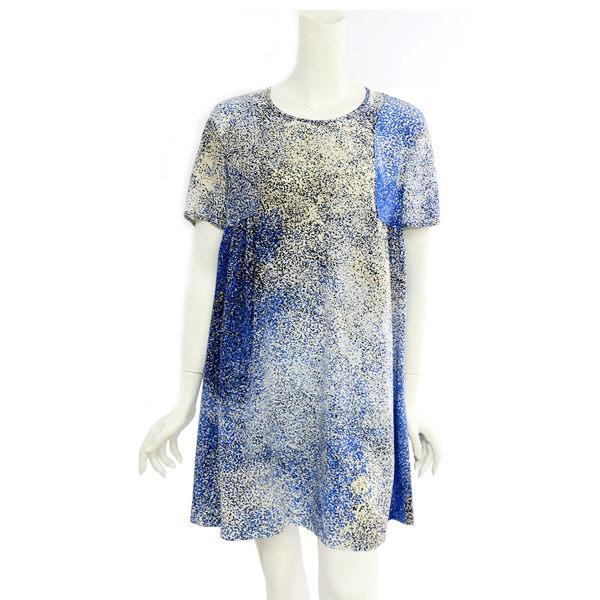 ~KENZO~ 點點絲質短袖洋裝 ^(藍白色^)