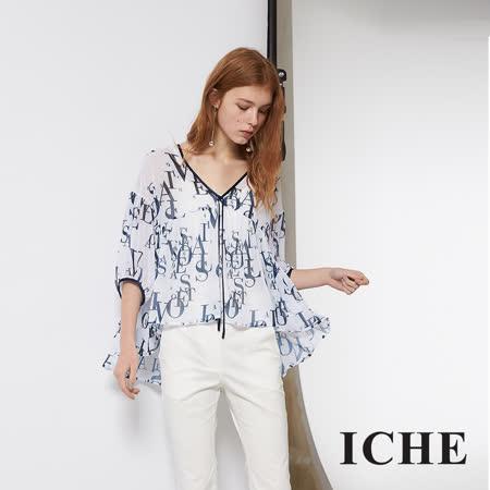 ICHE 衣哲 輕時尚紡紗字母印花前短後長五分袖上衣