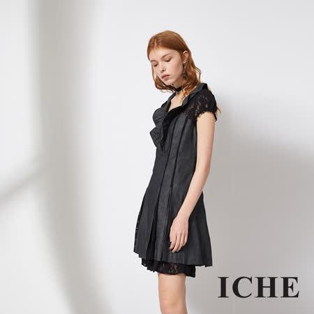 ICHE 衣哲 蕾絲拼接牛仔單寧造型洋裝 兩色