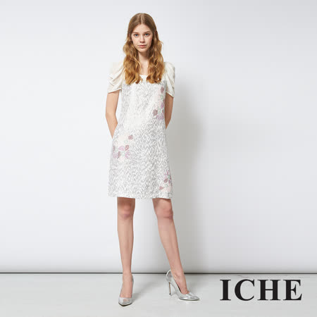 ICHE 衣哲 亮片印花拼接紡紗造型禮服洋裝