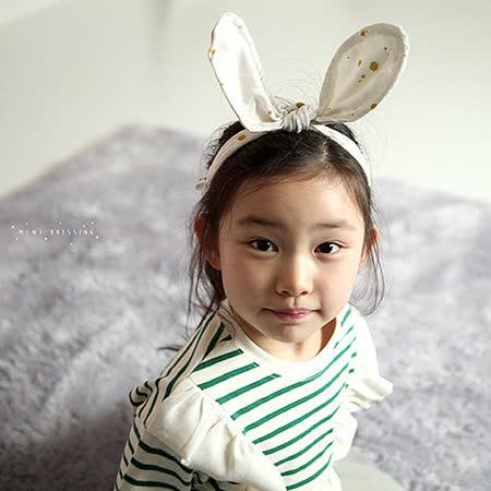 【HELLA 媽咪寶貝】韓國 Mini Dressing時尚可愛兔子耳朵造型髮帶_米白黃點點 (MDA004)可以