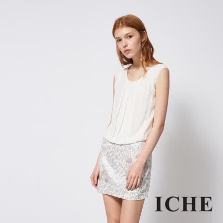 ICHE 衣哲 假兩件式亮片印花拼接紡紗禮服洋裝