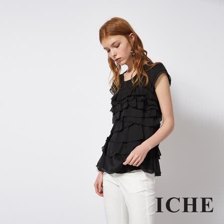 ICHE 衣哲 立體蛋糕疊層拼接紡紗造型上衣