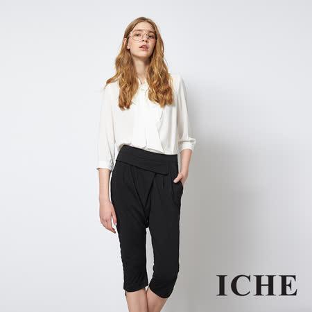 ICHE 衣哲 簡約素面軟料百搭造型打摺褲