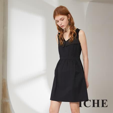 ICHE 衣哲 簡約時尚提花馬甲拼接造型洋裝
