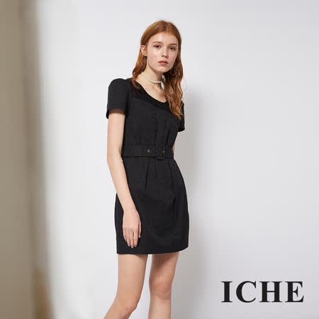 ICHE 衣哲 優雅蕾絲拼接提花造型洋裝