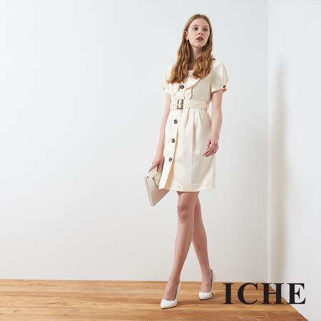 ICHE 衣哲 英式仿軍裝拼接造型洋裝