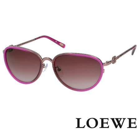 LOEWE 西班牙皇室品牌高質感復古精雕太陽眼鏡 紫紅 SLW428-08Y9