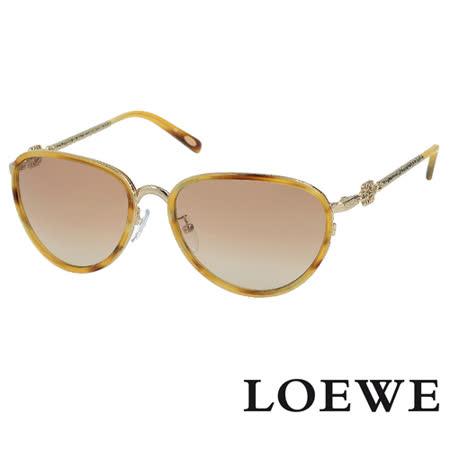 LOEWE 西班牙皇室品牌高質感復古精雕太陽眼鏡 琥珀 SLW428-594K