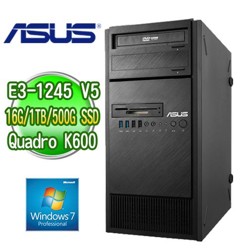 ASUS 華碩 ESC500 G4 四核繪圖工作站 ( E3-1245v5 16G M.2 500GB SSD+1TB K600繪圖卡 WIN7專業版)