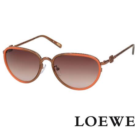 LOEWE 西班牙皇室品牌高質感復古精雕太陽眼鏡 嫣紅 SLW428-OR72