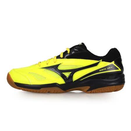 (男女) MIZUNO GATE SKY 羽球鞋-美津濃 螢光黃黑