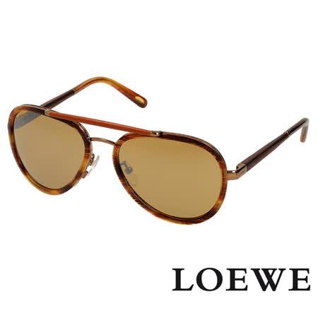 LOEWE 西班牙皇室品牌復古琥珀皮革質感太陽眼鏡(琥珀黃 SLW431-R80X