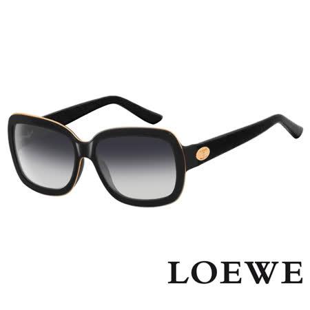 LOEWE 西班牙皇室品牌羅威皮革腳金屬LOGO太陽眼鏡(黑) SLW774-0Z42