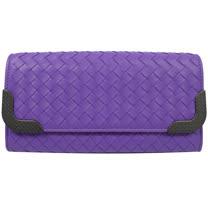 BOTTEGA VENETA 經典手工編織小羊皮金屬扣長夾.淺紫