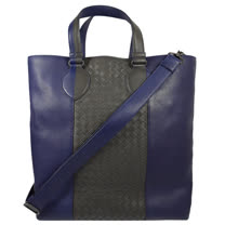 BOTTEGA VENETA 經典手工編織撞色小羊皮兩用購物包.紫藍