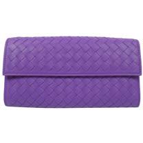 BOTTEGA VENETA 經典手工編織小羊皮扣式長夾.淺紫