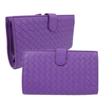 BOTTEGA VENETA 經典編織小羊皮扣式零錢中長夾.淺紫