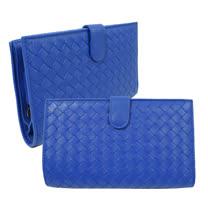 BOTTEGA VENETA 經典編織小羊皮扣式零錢中長夾.藍