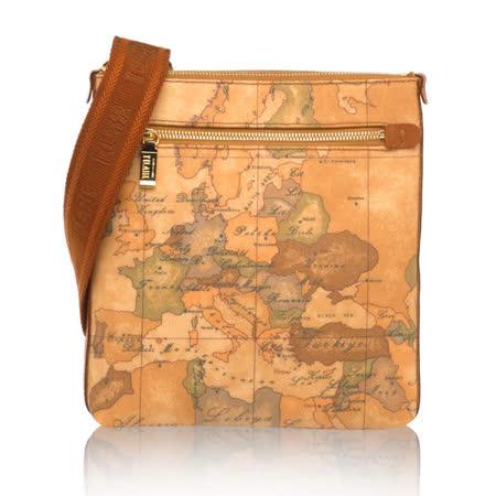 Alviero Martini 義大利地圖包  扁型小側背包-地圖黃