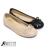 【Pretty】素面菱格紋拼接蝴蝶結平底娃娃鞋