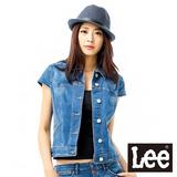 Lee 短袖外套 帥氣短版牛仔 -女款(中漂藍)