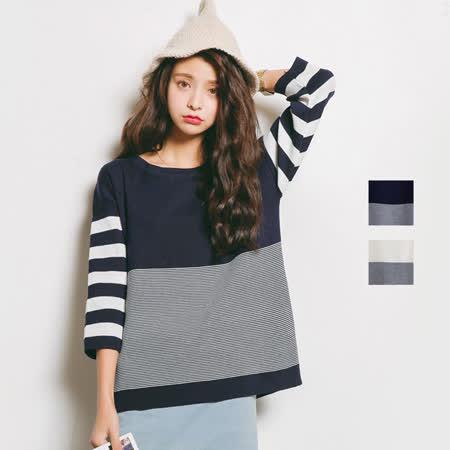 【nata】海軍風條紋針織上衣