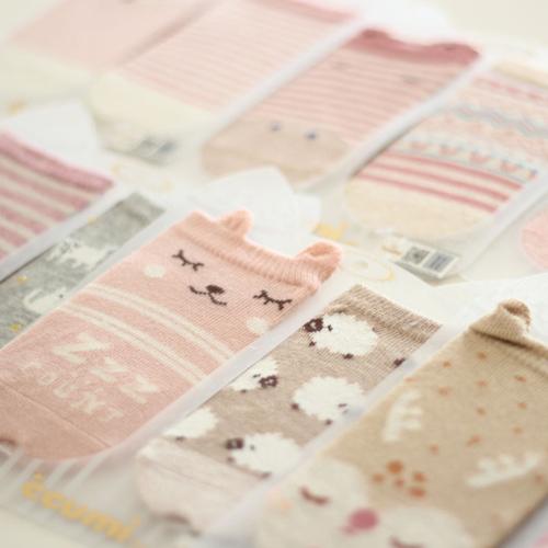春夏兒童襪 日系左右不同款可愛卡通短版兒童女襪(3入組)(C175)