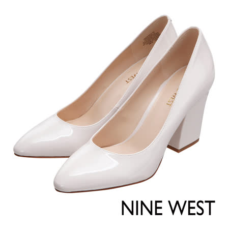 NINE WEST--簡約漆皮粗跟尖頭高跟鞋--質感米