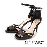 NINE WEST--優雅踝帶中跟魚口涼鞋--經典黑